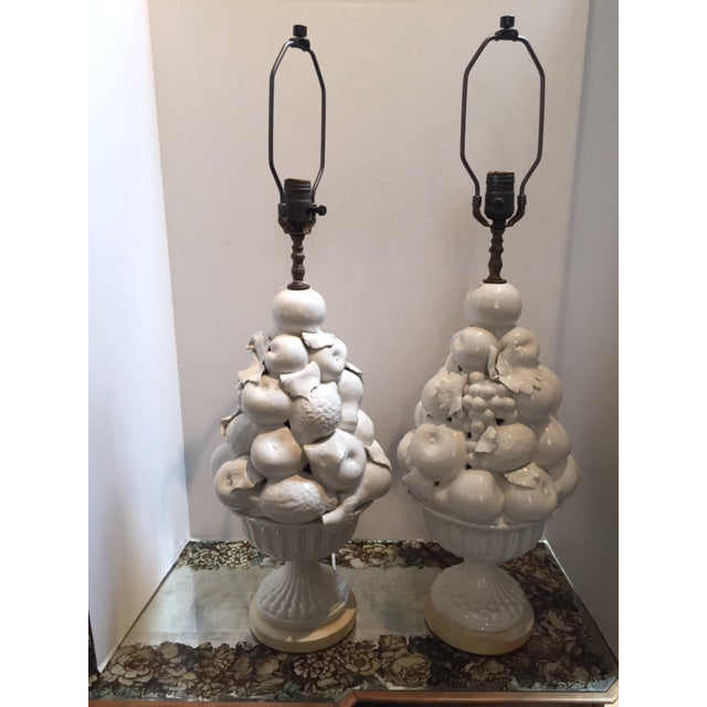White Ceramic Vintage Italian Fruit Topiary Lamps - a Pair For Sale - Image 4 of 4