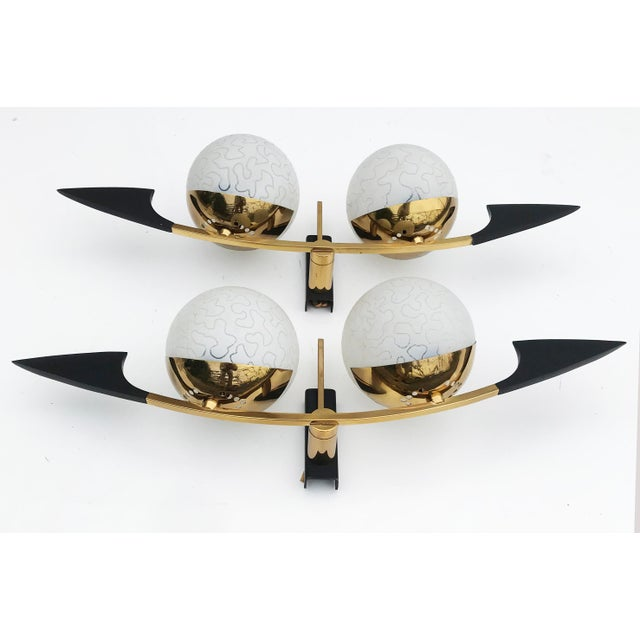 Maison Arlus Maison Arlus Paris Black and Brass Sconces - 2 Pairs Available For Sale - Image 4 of 5