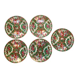 Famille Rose Hand Painted Plates - Set of 5 For Sale