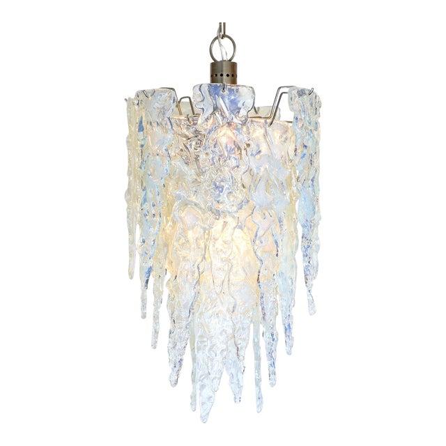 """""""Ghiacciolo"""" Murano Glass Iridescent Chandelier For Sale"""