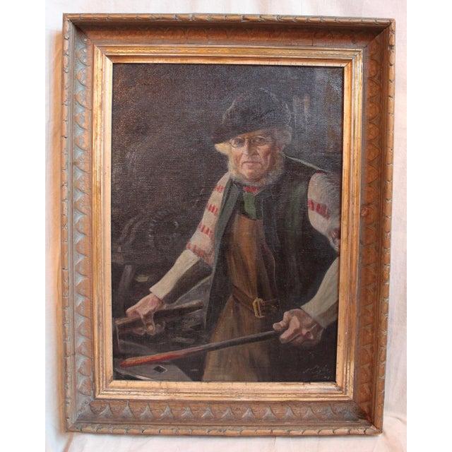 Antique German Blacksmith Painting - Image 2 of 6