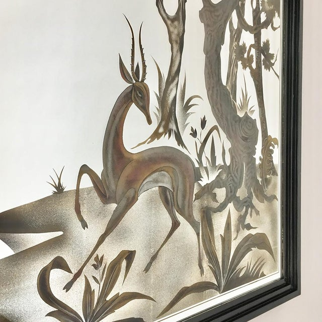 Art Deco Framed Eglomise Glass Sculptural Wall Panel Circa 1960 For Sale - Image 3 of 6