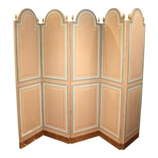 Maison Jansen Folding Screen in Pink with Pinecone Finials For Sale