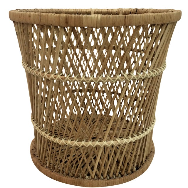 Rattan Wastebasket - Image 1 of 6