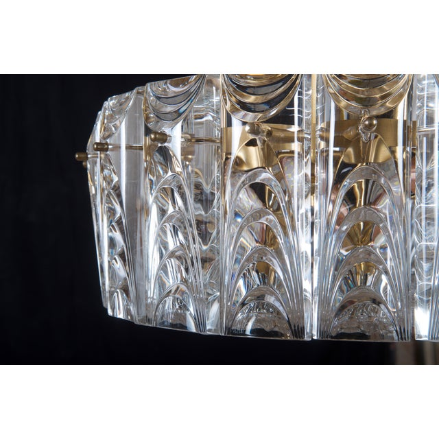 Danish Midcentury Glass, Brass Chandelier by Vitrika For Sale - Image 9 of 11