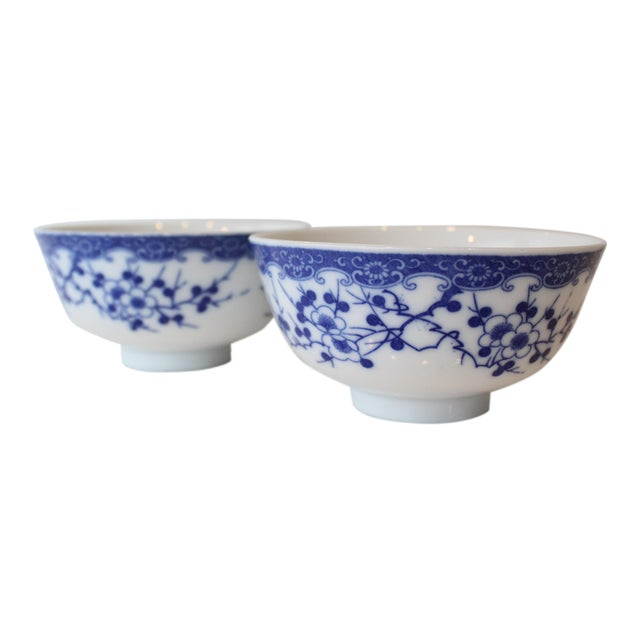 Vintage Blue and White Chinese Rice Bowls - a Pair For Sale