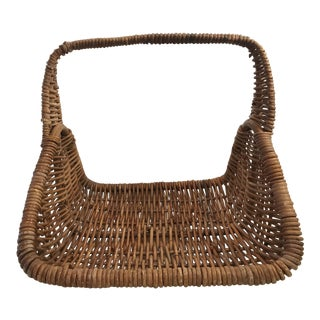 Large Vintage Natural Wicker Flower Basket For Sale