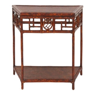 Demilune Table, Small, Brown, Rattan For Sale