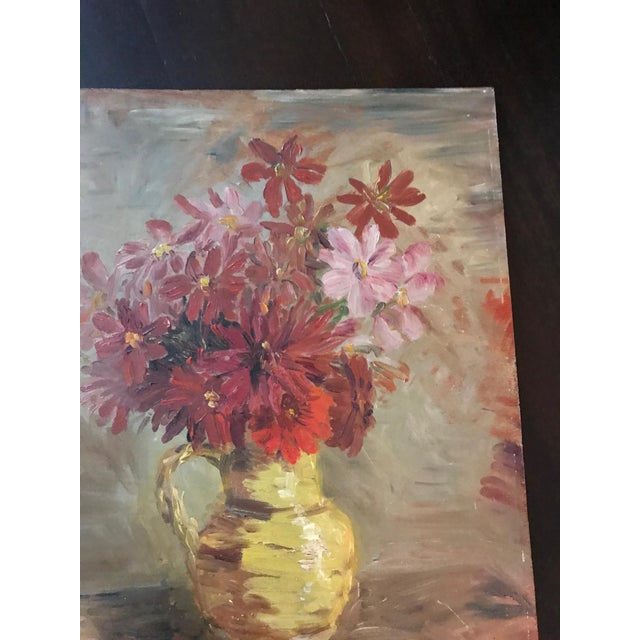 Boho Chic French Mid-Century Floral Still-Life Painting For Sale - Image 3 of 4