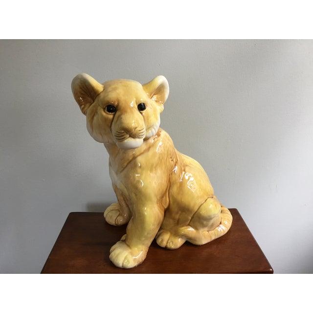 Orange Vintage Eclectic Life-Size Ceramic Lion Cub For Sale - Image 8 of 8