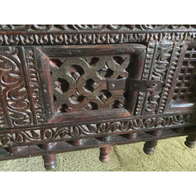 Antique Indian Wood Carved Sideboard - Image 3 of 10