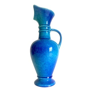 Vintage 1955 Mid Century Haeger Art Pottery Etruscan Style Blue Ombre Ceramic Handled Pitcher Vase For Sale
