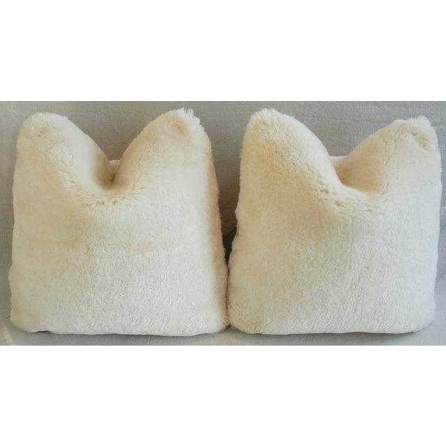 Plush Creamy Ivory Lambswool Pillows - Pair - Image 4 of 8