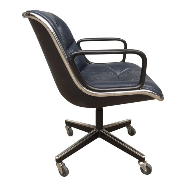 Charles Pollock for Knoll Blue Office Chair - Image 4 of 7