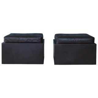 Pair of Leather Wrapped Ottomans, 1970s For Sale