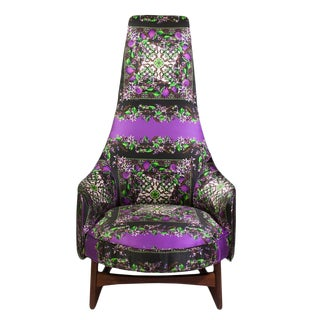 Adrian Pearsall High Back Chair Upholstered in Dolce & Gabbana Silk For Sale