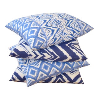 Boho Chic Tie-Dye Floor Pillows - Set of 4 For Sale