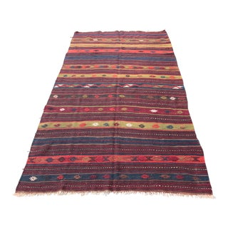 Turkish Vintage Kilim Dark Tone Color Rug - 9' 3'' x 5' 3''