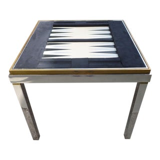 1970's Mid-Century Modern Willy Rizzo Chrome and Brass Gaming Table