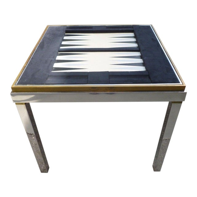 1970's Mid-Century Modern Willy Rizzo Chrome and Brass Gaming Table For Sale
