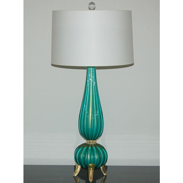 Hollywood Regency Murano Glass Three Footed Table Lamps Aqua Gold For Sale - Image 3 of 10
