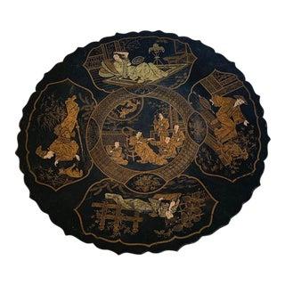 Antique Chinoiserie Papier Mache Pedestal Plate Lacquered For Sale