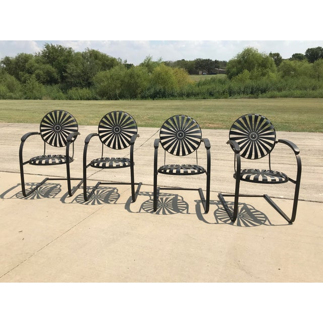 Francois Carre French Sunburst Garden Chairs Circa 1930 - Set of 4 For Sale - Image 11 of 11