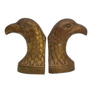 1970s Hollywood Regency Brass Eagle Shape Bookends - a Pair