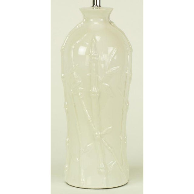 Glazed White Bamboo Relief Ceramic Table Lamp - Image 3 of 4