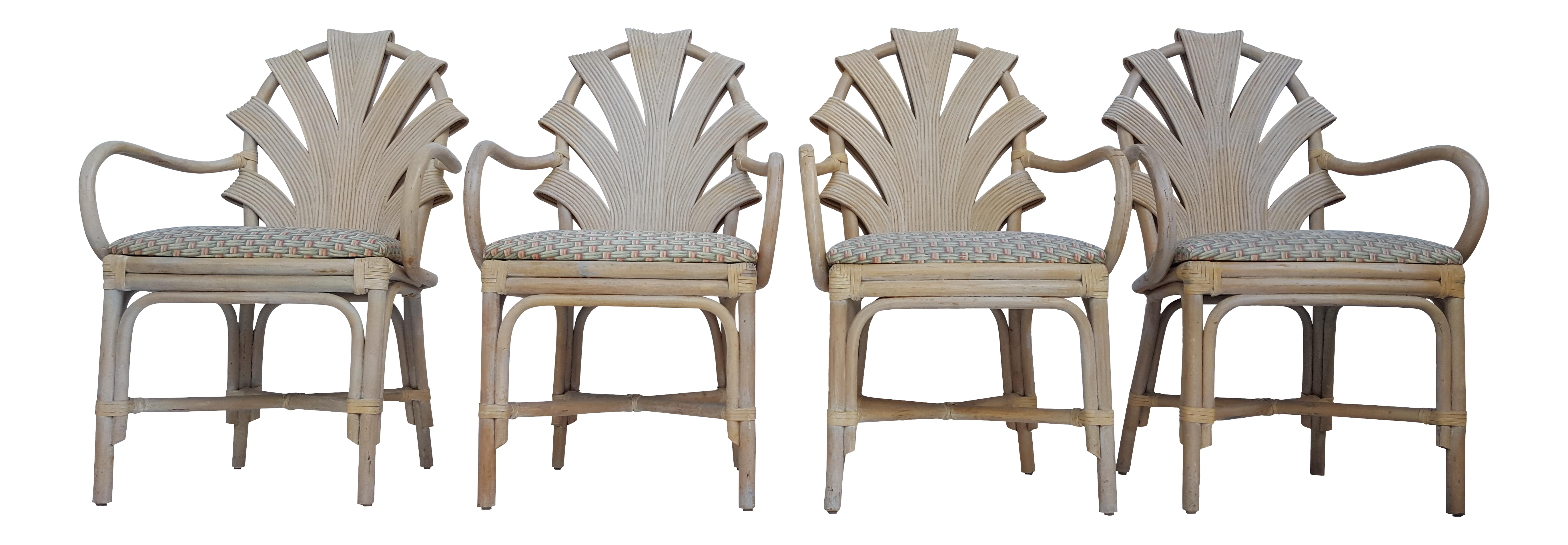 Vintage Pencil Reed Rattan Sculptural Back Dining Chairs Set of - 4  sc 1 st  Chairish & Vintage Pencil Reed Rattan Dining Table | Chairish