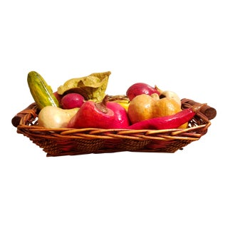 Mid 20th Century Mexican Paper Mache Vegetables in Woven Basket Centerpiece For Sale