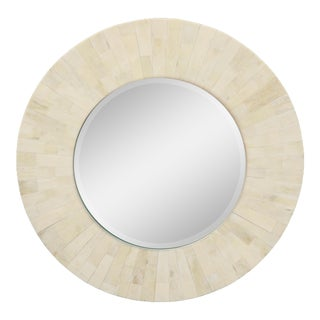 Circular Mirror With Wide Faux Bone Border For Sale