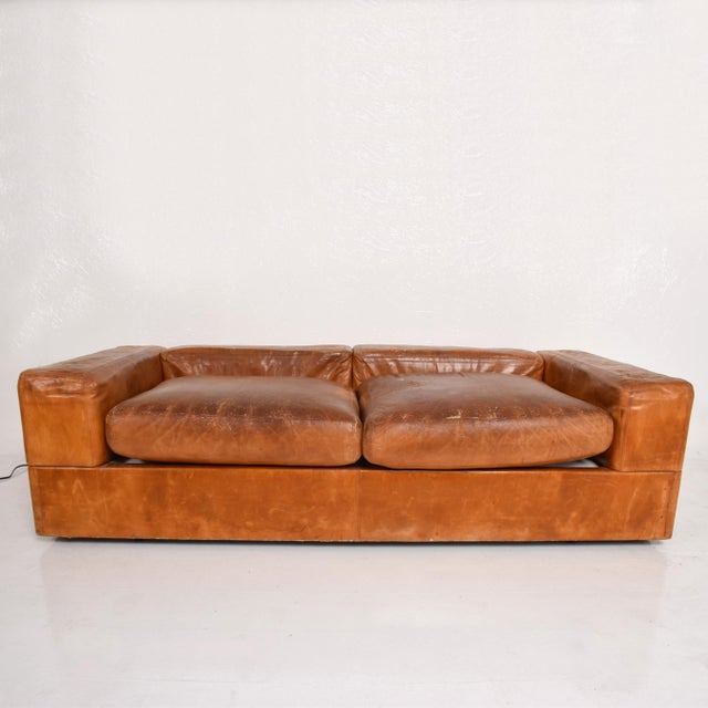 Mid Century Modern Italian Leather Sofa Bed For Sale - Image 10 of 11