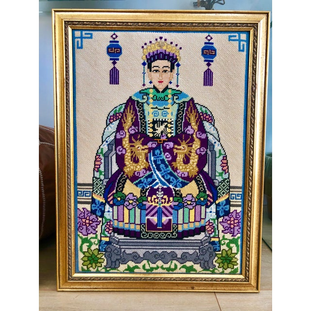 Asian Vintage Chinoiserie Chinese Ancestor Portraits Framed Needlepoints - a Pair For Sale - Image 3 of 8