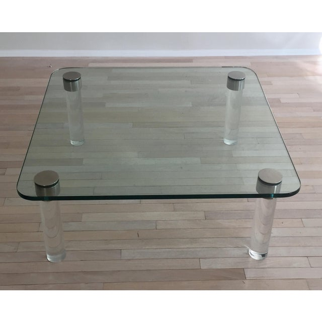 Buy Chrome Coffee Table Legs: Pace Glass & Chrome Coffee Table With Lucite Legs