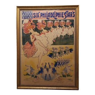 "Late 19th Century French ""Six Philadelphie Star's"" Large Scale Color Lithograph Poster For Sale"
