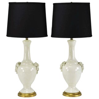 Pair Fredrick Cooper White Glazed Ceramic Table Lamps with Grape Clusters