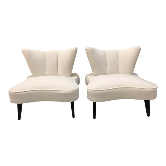 20th Century Pair Sculptural Art Deco Slipper Arm Less Chairs Attributed to Grosfeld House For Sale
