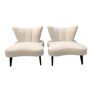 20th Century Sculptural Art Deco Slipper Arm Less Chairs Attributed to Grosfeld House - a Pair For Sale