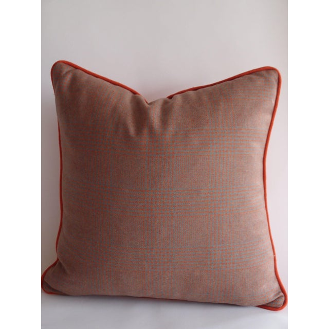 Grey & Orange Plaid Pillow in Ralph Lauren Fabric - Image 2 of 4