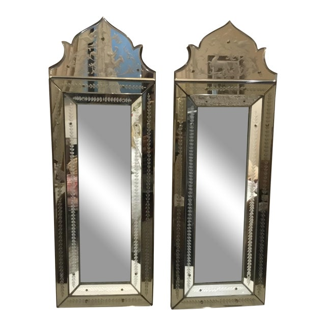 Pair of Antique Venetian Glass Etched Mirrors For Sale