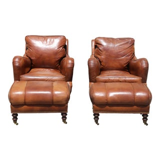 1980s Hickory Leather Arm Chairs & Ottomans - Set of 4 For Sale
