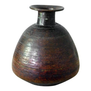 Vintage Nepalese Hammered Copper Pot For Sale