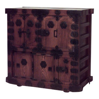 Asian Japanese/Korean Style Oak Chest With Wrought Iron Hardware For Sale