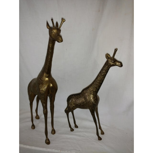 Boho Chic 22 Inch 1960's Mid Century Brass Giraffe and Baby - a Pair For Sale - Image 3 of 10