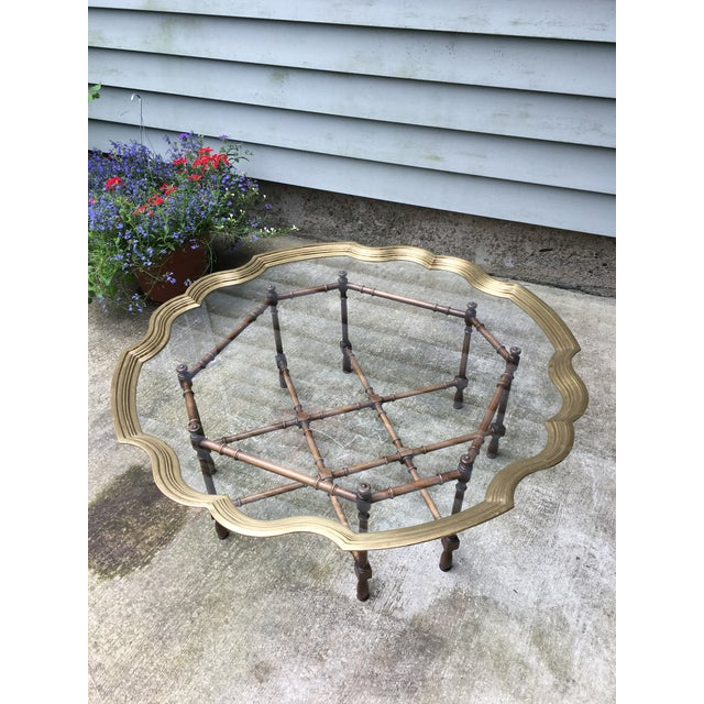20th Century Chinoiserie Style Glass & Brass Cocktail Tray Table For Sale In Boston - Image 6 of 13