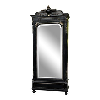 19th Century French Napoleon III Ebonized Armoire For Sale