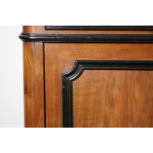 Brown Mid 19th Century French Walnut Bureau Bookcase With Ebonized Trim and Original Glazing For Sale - Image 8 of 9