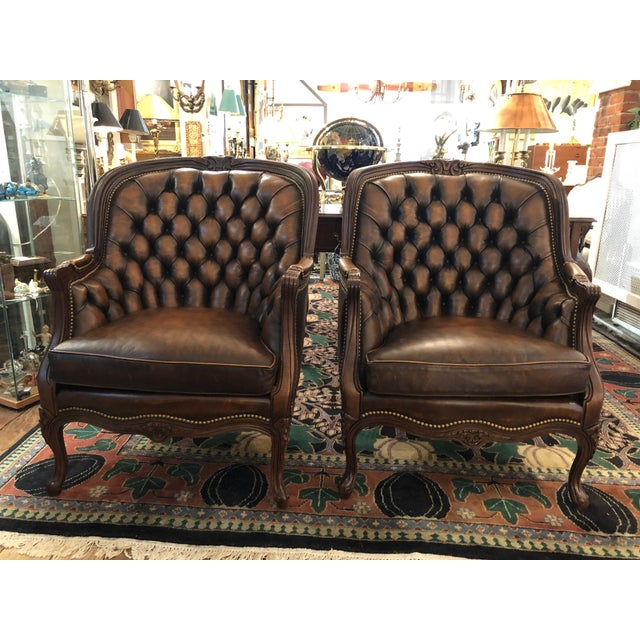 Tufted Burnished Leather Club Chairs - a Pair For Sale - Image 13 of 13