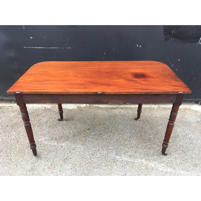 Antique English Walnut Writing Desk on Brass Casters For Sale - Image 10 of 11
